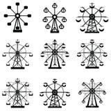 Ferris wheel icon set. The ferris wheel icon set Stock Image