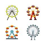 Ferris wheel icon set, flat style. Ferris wheel icon set. Flat set of ferris wheel vector icons for web design isolated on white background Stock Image