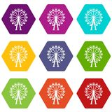Ferris wheel icon set color hexahedron. Ferris wheel icon set many color hexahedron isolated on white vector illustration Stock Photography