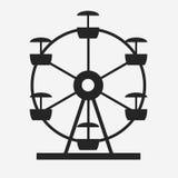 Ferris Wheel Icon Silhouette Attrazione rotonda di spettacolo Fotografia Stock