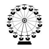 Ferris Wheel Icon Silhouette Attrazione rotonda di spettacolo Immagine Stock Libera da Diritti
