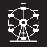 Ferris Wheel Icon Silhouette. Entertainment Round Attraction.  Royalty Free Stock Photography