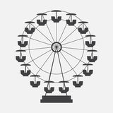 Ferris Wheel Icon Silhouette. Entertainment Round Attraction.  Vector Illustration