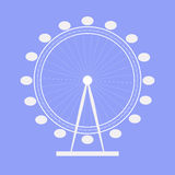 Ferris wheel. Icon. Symbol. Blue background. Royalty Free Stock Photography