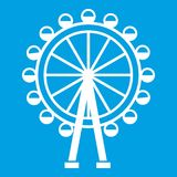Ferris wheel icon white. Isolated on blue background vector illustration Stock Photos
