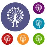 Ferris wheel icons set. In flat circle reb, blue and green color for web Royalty Free Stock Photos