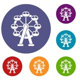 Ferris wheel icons set Royalty Free Stock Photos