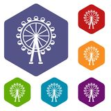 Ferris wheel icons set. Rhombus in different colors isolated on white background Stock Photos