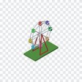Ferris Wheel Isometric d'isolement L'élément de vecteur de récréation peut être employé pour Ferris, roue, concept de constructio Images stock