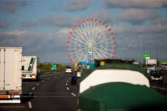 Ferris wheel in Japan. In Japan, the highway, from a distance saw a giant Ferris wheel, beautiful scenery and memorable Royalty Free Stock Photography