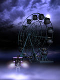 Ferris wheel killer. Disturbing masked man, near a car close to a ferris wheel under the moonlight Royalty Free Stock Images