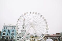 Ferris Wheel at Kontraktova Square in Kiev, Ukraine. November 23, 2018: The Ferris wheel in Kyiv on Podil. Ferris Wheel at Kontraktova Square in Kiev, Ukraine royalty free stock photo