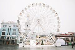 Ferris Wheel at Kontraktova Square in Kiev, Ukraine. November 23, 2018: The Ferris wheel in Kyiv on Podil. Ferris Wheel at Kontraktova Square in Kiev, Ukraine stock images