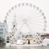 Ferris Wheel at Kontraktova Square in Kiev, Ukraine. November 23, 2018: The Ferris wheel in Kyiv on Podil. Ferris Wheel at Kontraktova Square in Kiev, Ukraine stock photos