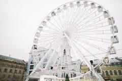 Ferris Wheel at Kontraktova Square in Kiev, Ukraine. November 23, 2018: The Ferris wheel in Kyiv on Podil. Ferris Wheel at Kontraktova Square in Kiev, Ukraine stock image