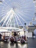 The Ferris wheel at the Kontraktova Square on Podil. Christmas Market in the historical center of Kyiv, Ukraine. Kyiv, Ukraine - December 15, 2018: The Ferris royalty free stock photography