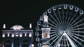 A ferris wheel in Kyiv at Podil district stock footage