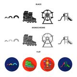 Ferris wheel with ladder, scooter. Playground set collection icons in black, flat, monochrome style vector symbol stock. Illustration Royalty Free Stock Photo