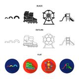 Ferris wheel with ladder, scooter. Playground set collection icons in black,flat,outline style vector symbol stock. Illustration Stock Photos