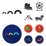 Ferris wheel with ladder, scooter. Playground set collection icons in black, flat style vector symbol stock illustration.  Stock Images