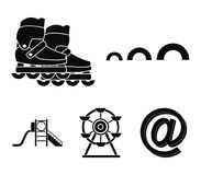 Ferris wheel with ladder, scooter. Playground set collection icons in black style vector symbol stock illustration web. Ferris wheel with ladder, scooter Stock Image