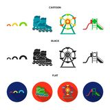 Ferris wheel with ladder, scooter. Playground set collection icons in cartoon,black,flat style vector symbol stock. Illustration Stock Images