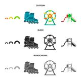 Ferris wheel with ladder, scooter. Playground set collection icons in cartoon,black,monochrome style vector symbol stock. Illustration Stock Photos