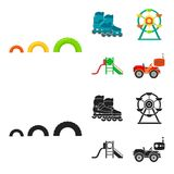 Ferris wheel with ladder, scooter. Playground set collection icons in cartoon,black style vector symbol stock. Illustration Stock Images