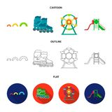 Ferris wheel with ladder, scooter. Playground set collection icons in cartoon,outline,flat style vector symbol stock. Illustration Stock Photography