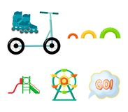 Ferris wheel with ladder, scooter. Playground set collection icons in cartoon style vector symbol stock illustration web. Ferris wheel with ladder, scooter Royalty Free Stock Photography