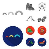 Ferris wheel with ladder, scooter. Playground set collection icons in monochrome,flat style vector symbol stock. Illustration Royalty Free Stock Image