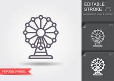 Ferris Wheel Linje symbol med den redigerbara slagl?ngden med skugga royaltyfri illustrationer