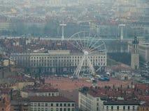 Ferris wheel in Lyon in winter, France. Top view stock image