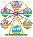 A ferris wheel with monsters. Illustration of a ferris wheel with monsters on a white background Stock Photo