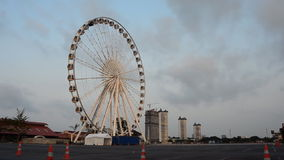Ferris wheel in morning, Time lapse. HD Royalty Free Stock Photography