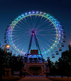 Ferris wheel with multi-colored illumination against the dark bl Royalty Free Stock Images