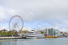 Ferris Wheel, Navy Pier,  Chicago, Illinois, USA. Royalty Free Stock Images