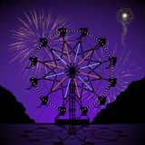 Ferris wheel at night. With fireworks display Royalty Free Stock Images