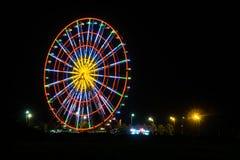 Ferris wheel at night in batumi stock images