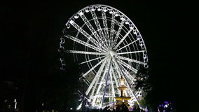 The Ferris wheel at night, Budapest stock footage