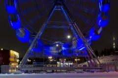 Ferris wheel in night city. Ferris wheel in dark sky of night city Stock Photography
