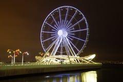 Ferris wheel on the night embankment. Baku, Azerbaijan royalty free stock images