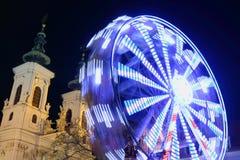 Ferris wheel. At night in Graz Austria Royalty Free Stock Images