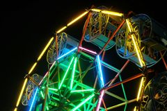 Ferris wheel night scenes. Colorful fluorescent light. Stock Photography
