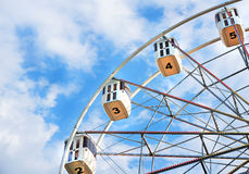 Ferris wheel with numbered cabins Royalty Free Stock Images
