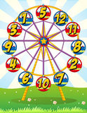 Ferris wheel with numbers on the carts. Illustration Royalty Free Stock Photos