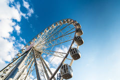 Ferris wheel. Wheel obozrenie against the bright blue of the evening sky, may 2014, St. Petersburg Royalty Free Stock Images