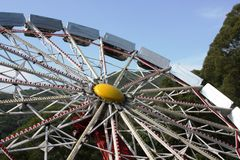 Ferris wheel in Ocean Park. Angled view of ferris wheel in Ocean Park, Hong Kong Royalty Free Stock Image