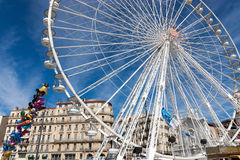 The Ferris wheel of the old harbour of Marseille Royalty Free Stock Photos