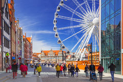 Ferris wheel in the old town of Gdansk, Poland Royalty Free Stock Photo